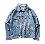 JOTHIN Löcher Jeansjacke Herren Denim Mantel Freizeit Jacket Stylisch Baggy OutwearJugendliche Übergangsjacke Hip Hop (3XL, Hellblau)