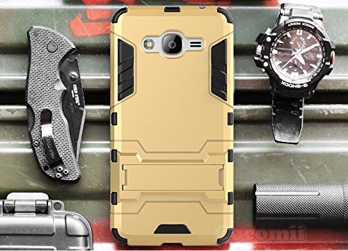 Preisvergleich Produktbild Galaxy J2 Prime Hülle, Cocomii Iron Man Armor NEW [Heavy Duty] Premium Tactical Grip Kickstand Shockproof Hard Bumper Shell [Military Defender] Full Body Dual Layer Rugged Cover Case Schutzhülle pple iPhone 5 (Gold)