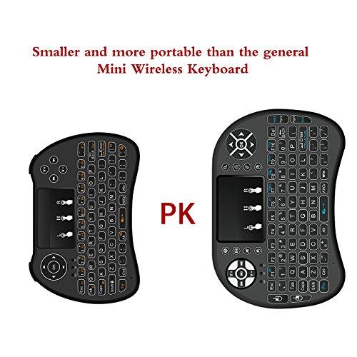 (2017Neues Modell) weiß Hintergrundbeleuchtung Mini Wireless Tastatur mit Touchpad Maus, USB wiederaufladbarer Lithium-Ionen-Akku Handheld Keybord für für Smart TV, Android TV Box, Laptop, xbox Gaming, PS4, PC, Schwarz - 5