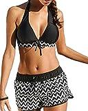 Outgobuy Retro Blumen Print Tops und Shorts Bikini Set Badeanzüge (XXXXL, schwarz)
