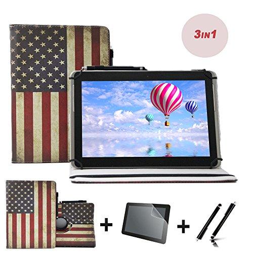 3er Starter Set für Blaupunkt Discovery A10.302 10,1 Tablet PC Tasche + Stylus Pen + Schutzfolie - 10.1 Zoll USA Flagge 360˚ 3in1
