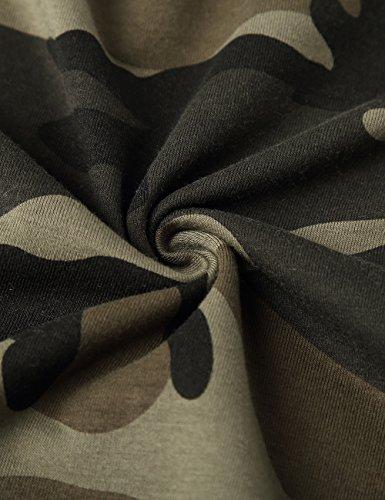 HEMOON Herren Slim Langarmshirt Classics Top V-Ausschnitt Tee Fitness Camouflage