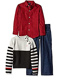 Nautica Boys' Three Piece Set with Button-Down Shirt Mock Neck Sweater and Pant