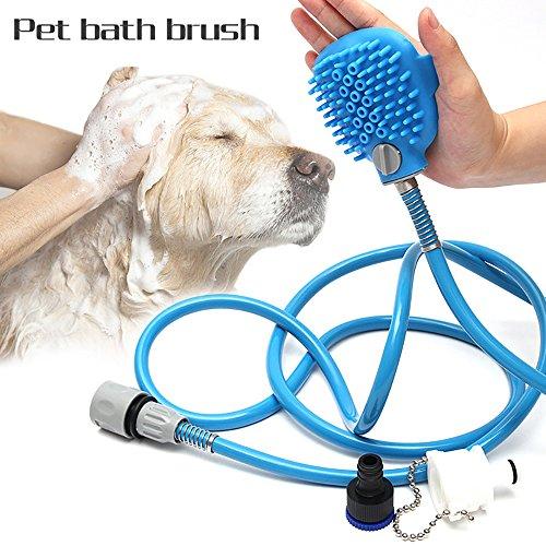 Contever Haustier Duschkopf mit Bürste Blau Hund Katze Badereiniger Tools Kit mit Verstellbar Handheld Spritze Waschen Massage Bürste, Länge: 2.5 m/98.4 Zoll PVC Schlauch (Riemen Pvc-rohr)