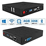 Mini PC, Maxesla BT3 PRO Windows 10 Desktop-PC 4GB RAM, 32GB SSD, Intel Atom x5-Z8350 CPU, 2.4G/5.8G Dualband WiFi, 1000Mbps Gigabit-LAN, Bluetooth 4.0, USB 3.0, Mini Computer mit 2 HDMI Kabel