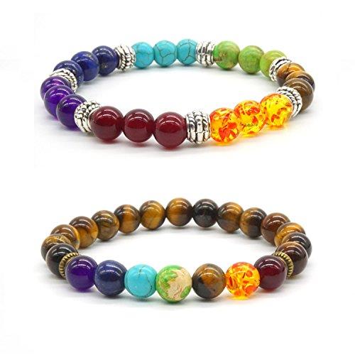 Achat Perlen 7 Chakras Energie Stein Armband Yoga Healing Balance Stein Armkette Elastisches Steinarmreif (Colour6)