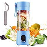 Portable Blender, Personal Size Electric USB Juicer Cup,380ml Fruit Mixing Machine with 4 Blades for Travel & Household, Rechargeable USB Juicer Mixer for Fruits and Vegetables (Blue)
