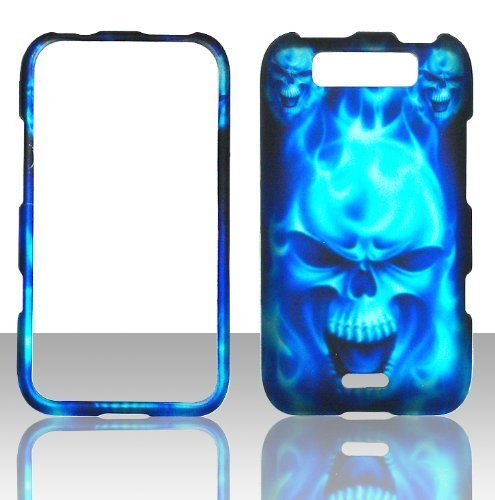 2D blau Totenkopf LG Connect MS840 Metro PCS Fall Hard Handy Snap auf Cover Fall Displayschutzfolie