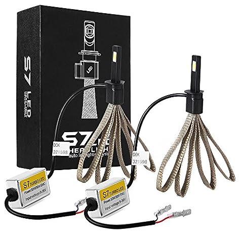 XCSOURCE Kit Conversion Phare LED Auto H1 - Ampoule 60W 6400LM LED COB XM-L2 6000K Blanc Pur avec Ceinture Cuivre Dissipation de Chaleur LD762