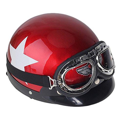 Shsyue®Motorrad Schutzhelm Halbhelm mit Visier Schutzbrille Weißes Stern Muster Rot