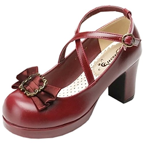 Partiss Damen Black Gothic Lolita High-Top Pumps PU Boots Casual Klassischen Retrostil Schuhen Platform Pumps Hochzeit Tanzenball Maskerade Pumps mit Bowknots,37,Wine Red