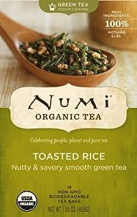 Numi Organic Tea Toasted Rice, Full Leaf Sencha Green Tea, 18-Count non-GMO Tea Bags (Pack of 3)
