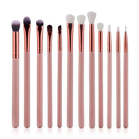 Beauté Dessus 12pcs Cosmétique sourcils Ombre à paupières Brosse Maquillage Brosse Définit Kits outils