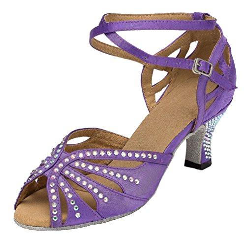 CFP Yfyc-l162 Womens Professional Mode Latin Tango ChaCha Chaton Talon en satin Chaussures de danse - Violet - violet,