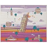 Eiffel Baby Italia - Alfombra, 90 x 110 cm, color malva / naranja