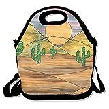 USYCHATS Leicht Isolierte Neopren Lunch Tasche Verstellbarer Schultergurt für Schule Arbeit Büro, Kaktus Pflanzen