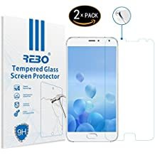 Meizu MX5 Protector cristal templado - RE3O® 2 x Protector de pantalla cristal templado vidrio templado para Meizu MX5 5,5'' pulgadas, Borde redondo elegante 2,5D, Fácil de instalar y sin burbujas de aire, Dureza 9H Anti-choque y Resistencia al desgaste a prueba de rasguños, Alta transparencia, Efecto anti-huella digital perfecto