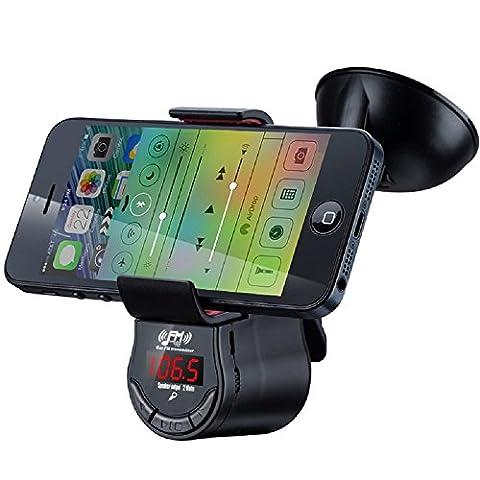 Support téléphone portable FM09 multifonction voiture Bluetooth Lecteur MP3 Transmetteur FM Chargeur Voiture Batterie intégrée avec support pour téléphone portable iPad