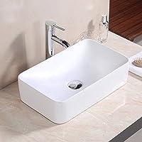 Basong lavabo sobre encimera de baño de cerámica lujosa blanca de forma rectángulo grande con agujero de drenaje