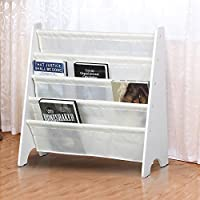 tinkertonk Durable Children's Sling Bookcase with 4 Compartments Space for Boys & Girls Book Magazine Storage