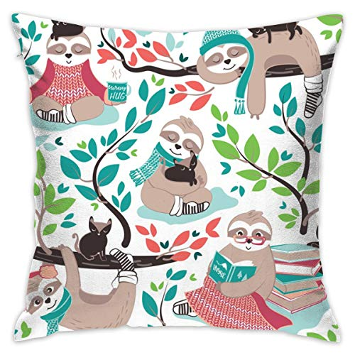 BigHappyShop Hygge Sloth Small Scale White and Orange Pillow Cover 18