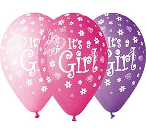 5 Luftballon Its a Girl Babyparty Pullerparty Geburt Ballons