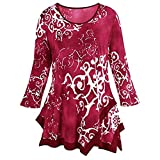 iYmitz Women's O-Neck Print Color Slim Long Sleeve Blouse Shirt Pullover Irregular Hem Tops