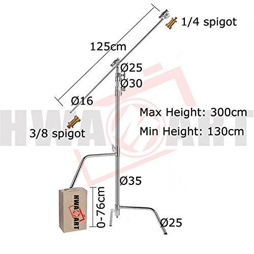 'HWAMART® Pro SuperHeavyDuty CSTANDS 300cm SOLID C-Stand W127CM Boom Arm Arm Spannkopf (C-Stand RISER LEG) Kino Flo-kits