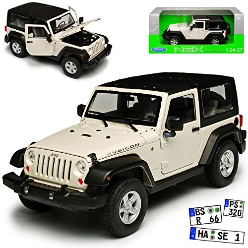 Jeep Wrangler Rubicon JK Weiss mit Soft Top Dach 2007-2018 1/24 Welly Modell Auto - Modell Wrangler Rubicon Jeep
