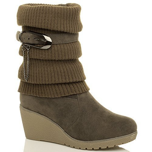 womens-ladies-mid-heel-wedge-knitted-collar-slouch-buckle-ankle-boots-size-5-38
