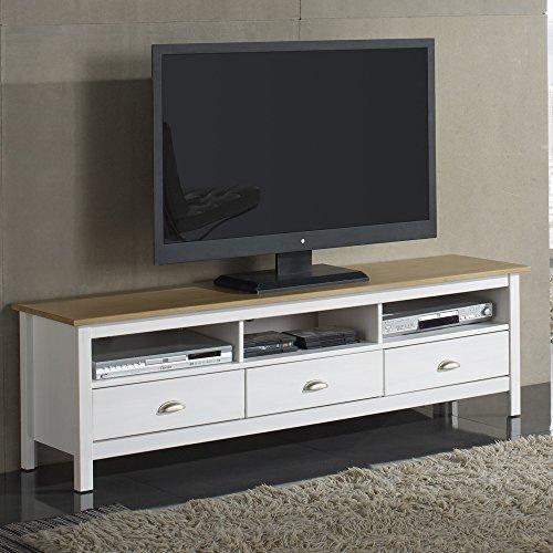 Mueble TV Bora Bora 3 Cajones, madera maciza, color Blanco capado
