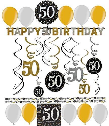 Pfeif auf's Alter 50 im Geschenke Set für Frauen und Männer zum Geburtstag Geldgeschenk Umschlag mit Kräuterlikör oder Piccolo 22 Karat Blattgold Gold pink rosa schwarz (Party Set 50 Gold 1004)