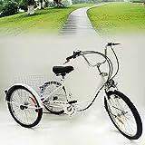 MOMOJA Triciclo 6 Velocidad 3 Ruedas Bicicleta Trike Bicicleta Ciclismo Pedal con Cesta de Compras para Adultos Deportes al Aire Libre 24 '' Blanco