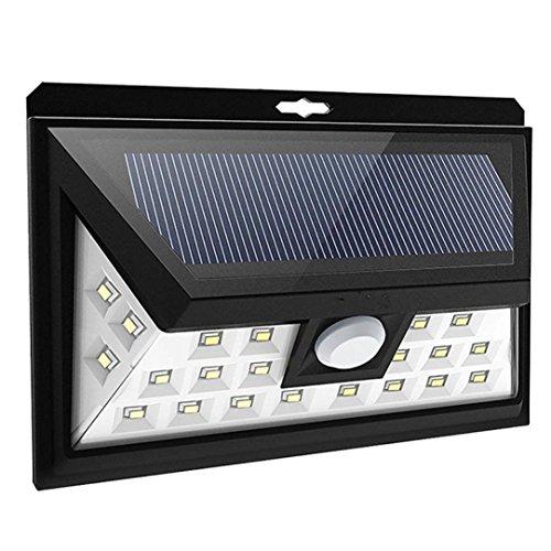 MMLC Solarlichter im Freien 34 LED Bewegungs Sensor Solarlichter mit breiter Beleuchtungs Fläche Beleuchtung Lichter (Weiß)