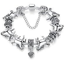 Wostu Europea tibetano plata Unisex pulsera con perlas y caballo Charm Fashion