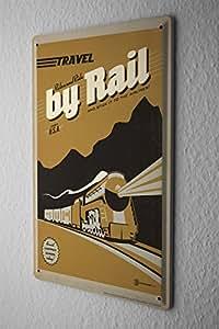 Locomotive De Plaque Émaillée Voyage train Décoration Murale Metal Plates 20X30 cm