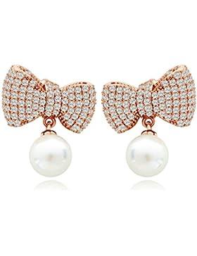 Beydodo Modeschmuck Vergoldet Damen Ohrhänger Weiß AAA Zirkonia Bogen Knot Runde Perle Channel Ohrringe