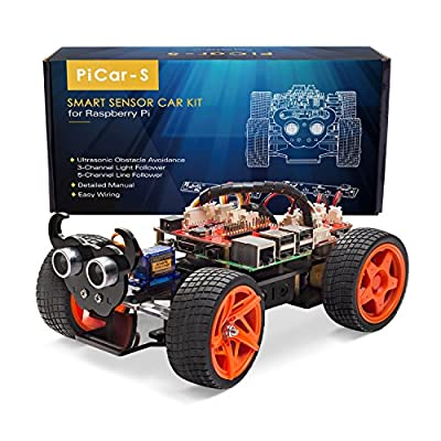 SunFounder Raspberry Pi Smart Robot Car Kit - PiCar-S Block Based Graphical Visual Programming Language Line Following Ultrasonic Sensor Light Following Module Electronic Toy with Detail Manual von SunFounder