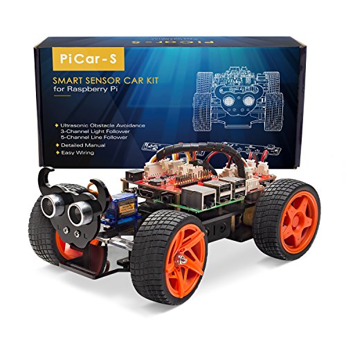 Pi Smart Robot Car Kit - PiCar-S Block Based Graphical Visual Programming Language Line Following Ultrasonic Sensor Light Following Module with Detail Manual (MEHRWEG) ()