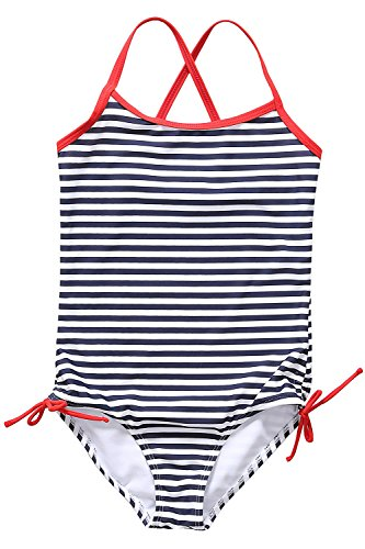 Sociala Mädchen Einteiler komfortabler Badeanzug mit mehrfärbigen Streifen Print Spaghetti Träger Schwarz 134-140cm/8-9 Jahre
