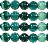 Naturwunder - Perlas de ágata con Piedras Preciosas, 8 mm, 6 mm, Color Verde,...