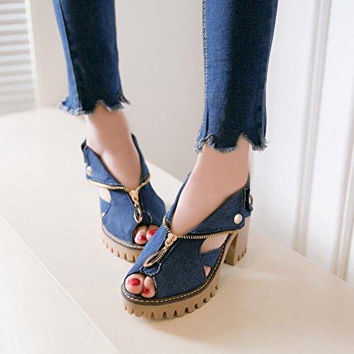 Mee Shoes Damen chunky heels Denim Plateau Sandalen Dunkelblau
