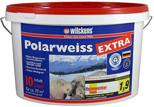 Polarweiss innen Wandfarbe weiss blauer Engel inkl. 4x 5m Abdeckfolie (Polarweiss Extra 10 Liter)