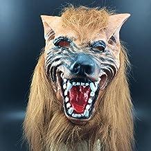 WKAIJCA Halloween Máscara Terror Diablo Maquillaje Baile Accesorios Juego Completo De Cabeza Cabeza De Lobo Amarillo