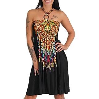 Neckholder Sommer Bandeau Kleid Holz-Perlen Damen Strandkleid Tuchkleid Tuch Aztec (1208 Schwarz)