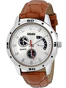 KiIndia Analog Multi-Colour Dial Men's Watch - Hh Big Slvr Blk 14