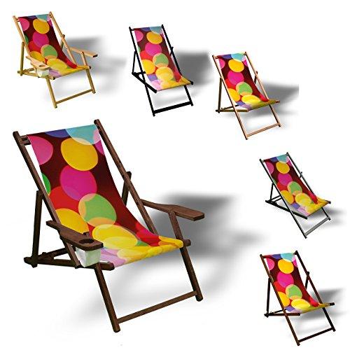 Printalio Bunte Kreise - Liegestuhl Bedruckt Balkon Garten Sonnenliege Relax Holz Terrasse | mit...