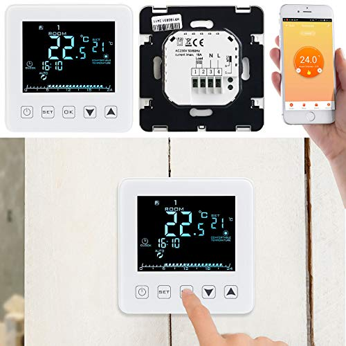 revolt WLAN Thermostat: WLAN-Raumthermostat für Heizungen, für Amazon Alexa & Google Assistant (WiFi Raumthermostat) - 7-tage-programm Digitale Thermostat
