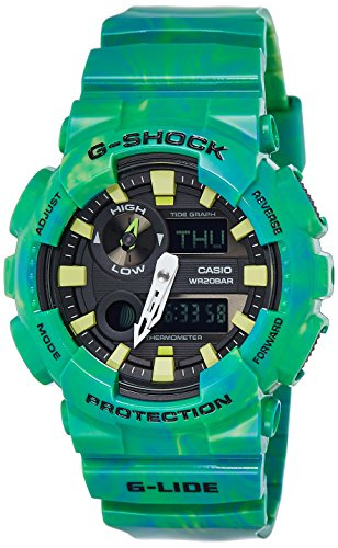 Casio #GAX100MB-3A Men's Tide Graph Thermometer Marble Green Glide G Shock Watch
