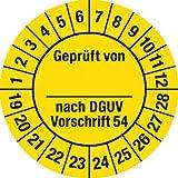 Prüfplakette Geprüft...DGUV Vorschrift 54, 2019 - 2028, Dokumentenfolie, Ø 3 cm, 100 St.
